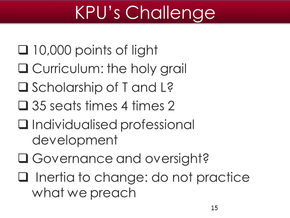 KPU's Challenge  10,000 points of light  Curriculum: the holy grail  Scholarship of T and L.