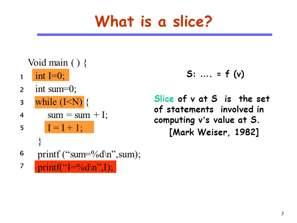 4 CS510 S o f t w a r e E n g i n e e r i n g Why Slice.