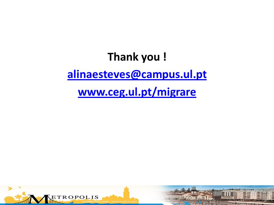 Thank you ! alinaesteves@campus.ul.pt www.ceg.ul.pt/migrare