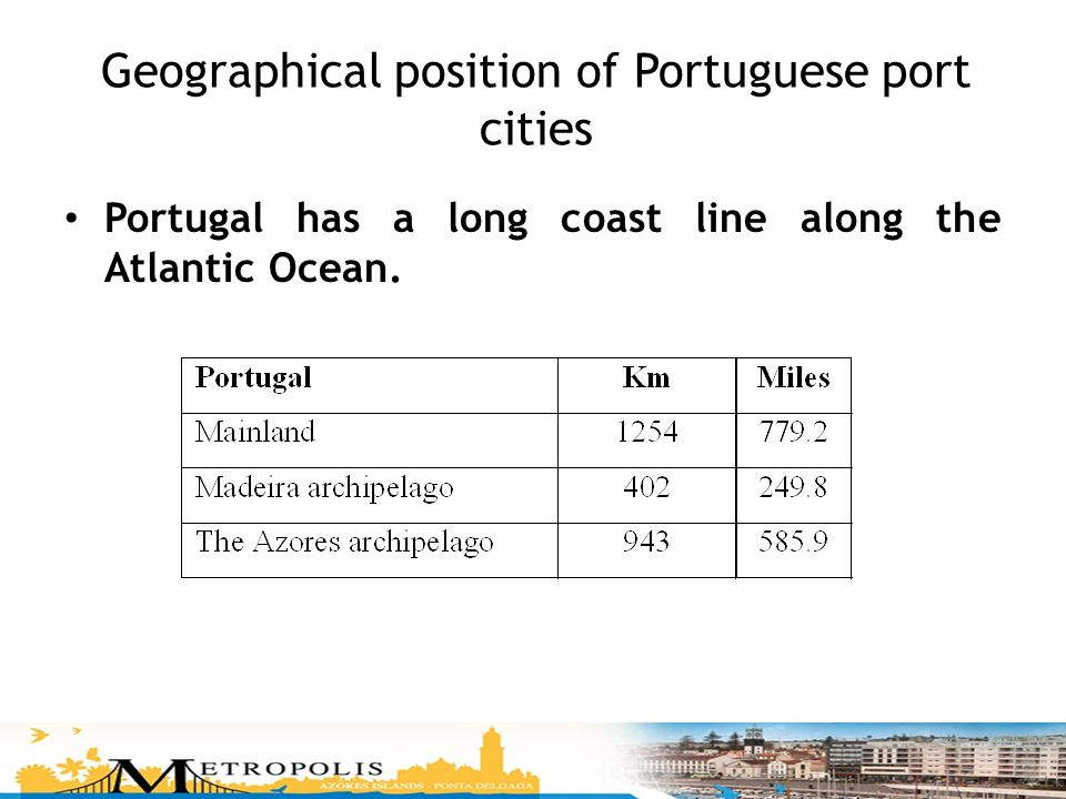 Geographical position of Portuguese port cities Portugal has a long coast line along the Atlantic Ocean.