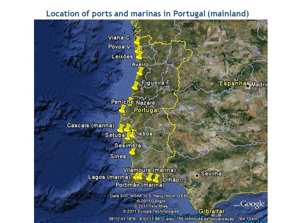 Location of ports and marinas in Portugal (mainland)