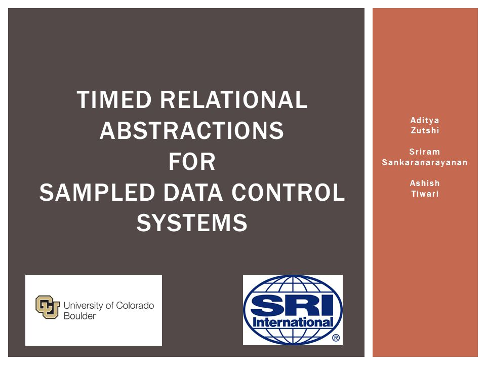 Aditya Zutshi Sriram Sankaranarayanan Ashish Tiwari TIMED RELATIONAL ABSTRACTIONS FOR SAMPLED DATA CONTROL SYSTEMS