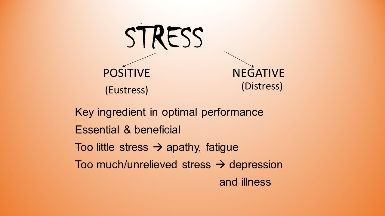 STRESS POSITIVE (Eustress) NEGATIVE (Distress) Key ingredient in optimal performance Essential & beneficial Too little stress  apathy, fatigue Too much/unrelieved stress  depression and illness