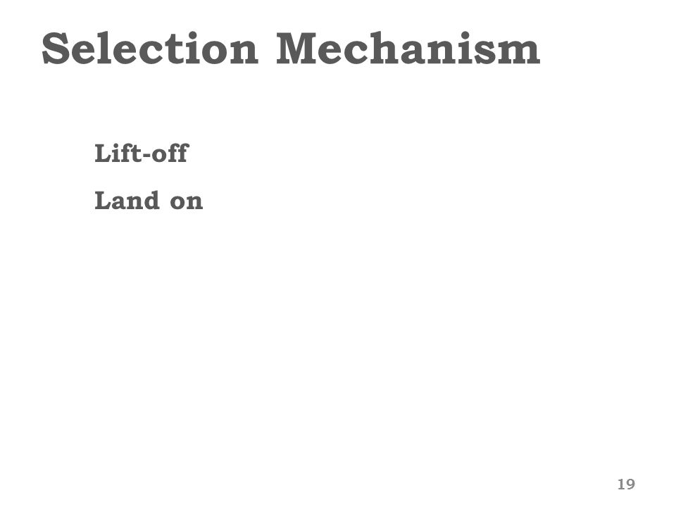 Selection Mechanism 19 Lift-off Land on