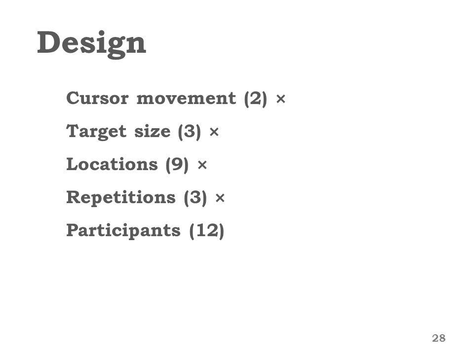 Design Cursor movement (2) × Target size (3) × Locations (9) × Repetitions (3) × Participants (12) 28