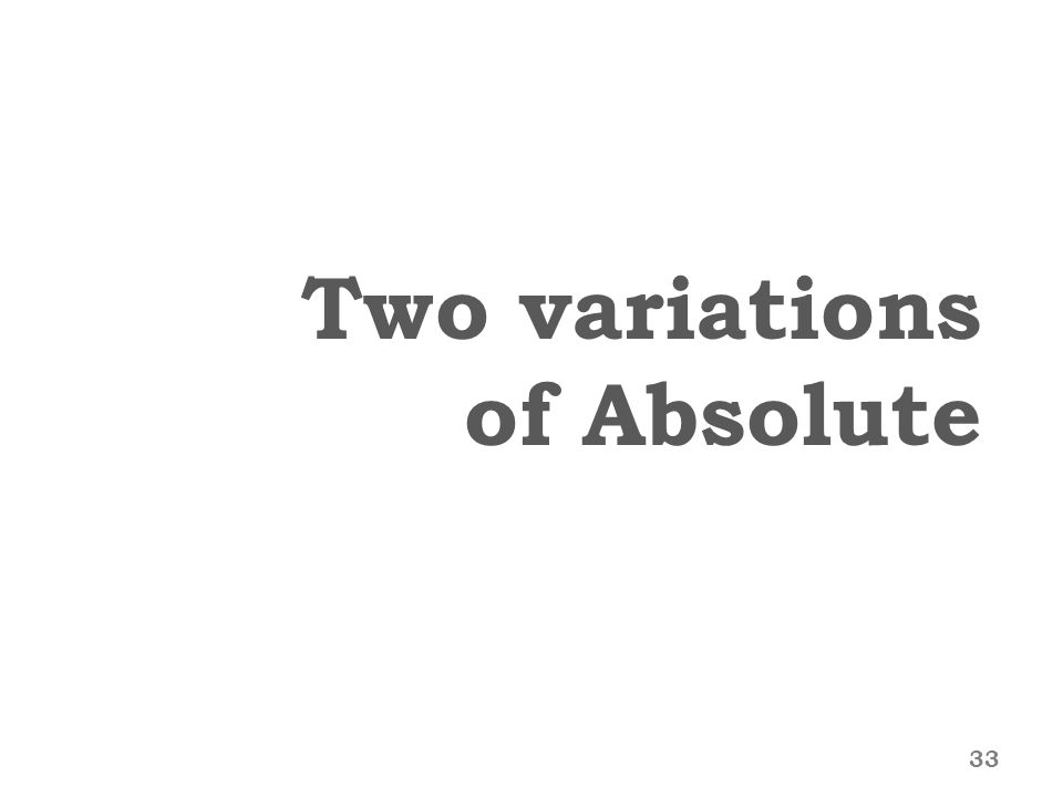 Two variations of Absolute 33