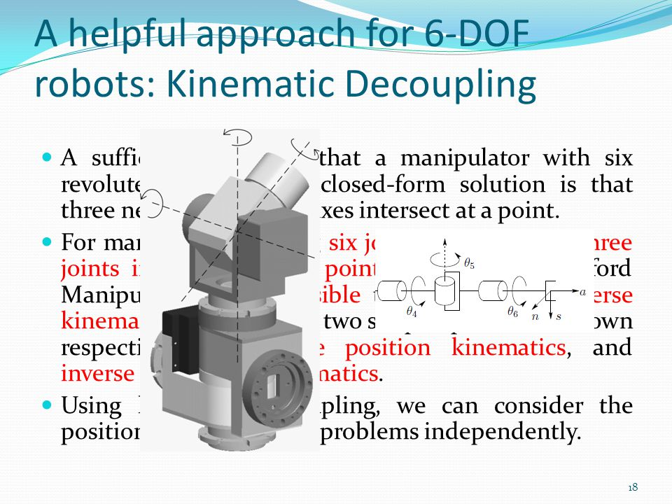 A helpful approach for 6-DOF robots: Kinematic Decoupling A sufficient condition that a manipulator with six revolute joints have a closed-form soluti