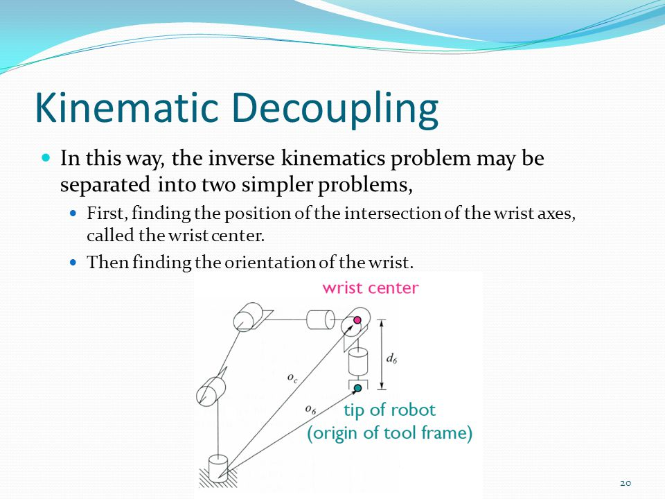 Kinematic Decoupling In this way, the inverse kinematics problem may be separated into two simpler problems, First, finding the position of the intersection of the wrist axes, called the wrist center.