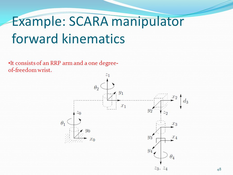 Example: SCARA manipulator forward kinematics It consists of an RRP arm and a one degree- of-freedom wrist.