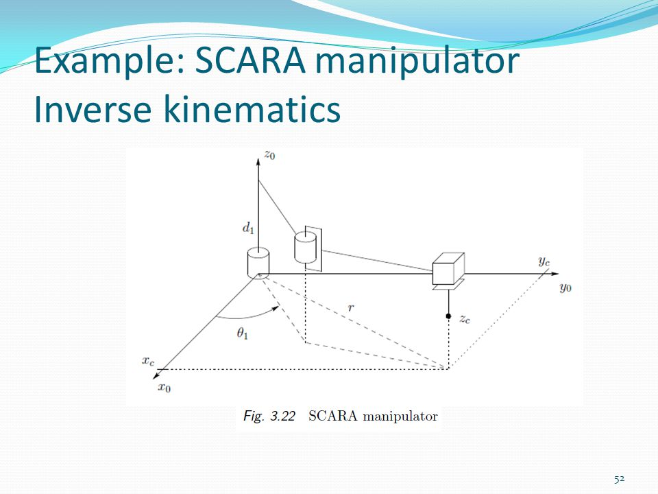 Example: SCARA manipulator Inverse kinematics 52