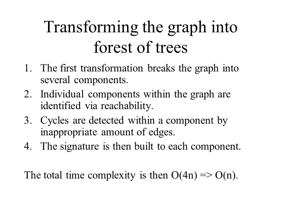 Transforming the graph into forest of trees 1.The first transformation breaks the graph into several components. 2.Individual components within the gr