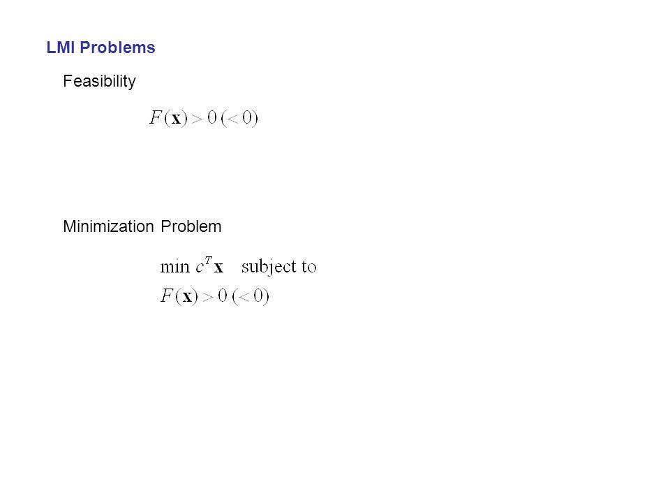 LMI Problems Feasibility Minimization Problem
