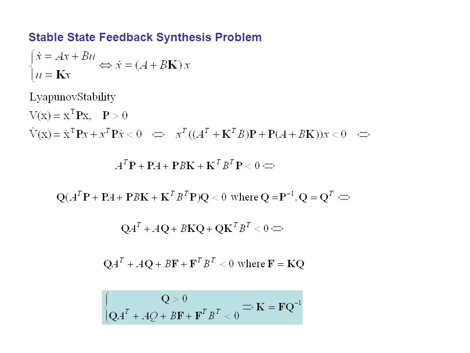 Stable State Feedback Synthesis Problem