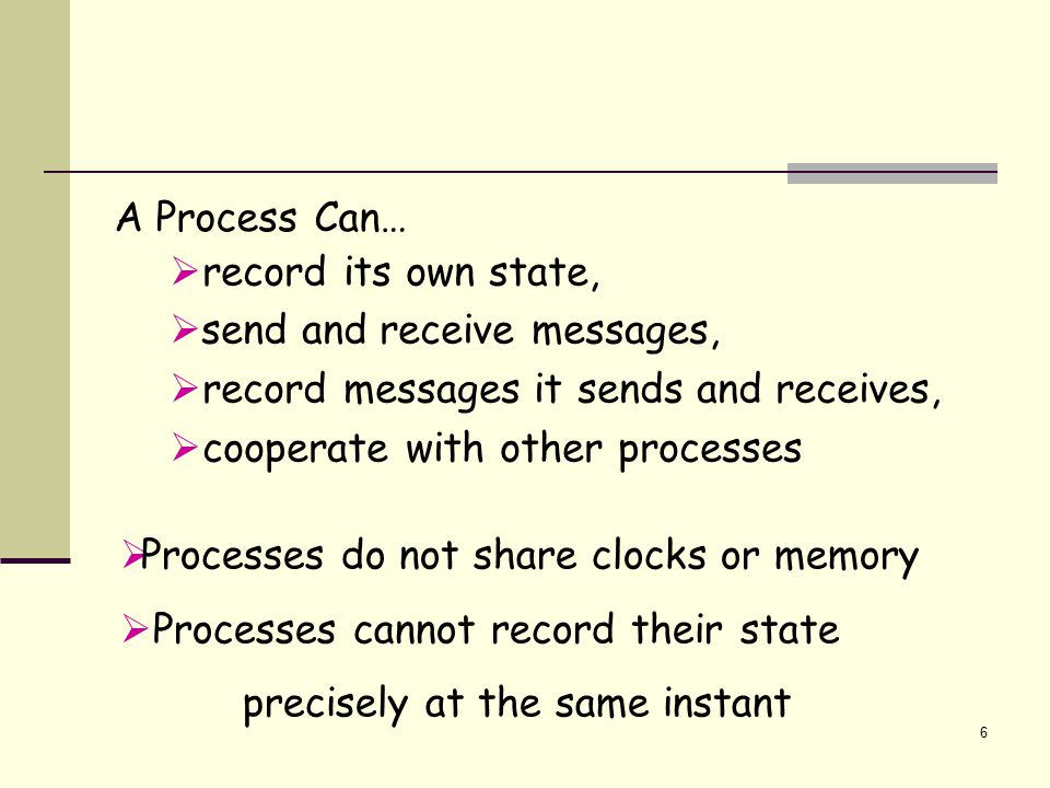 6 A Process Can…  record its own state,  send and receive messages,  record messages it sends and receives,  cooperate with other processes  Proc