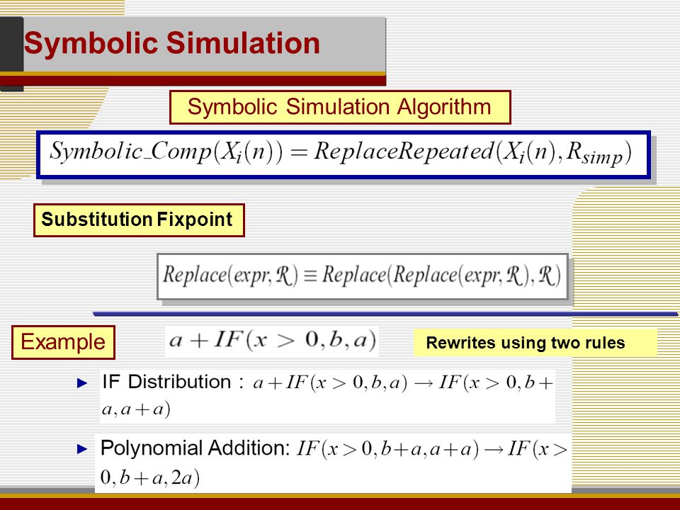 Substitution Fixpoint Symbolic Simulation Algorithm Symbolic Simulation Rewrites using two rules ► ► Example