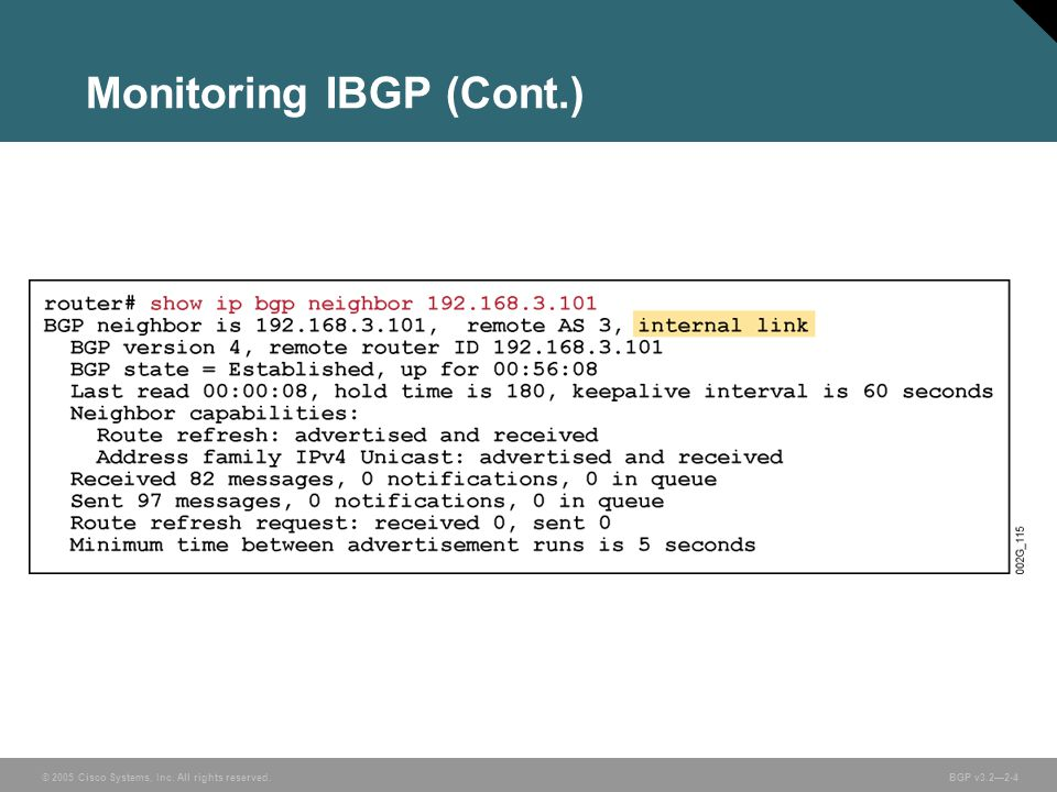 © 2005 Cisco Systems, Inc. All rights reserved. BGP v3.2—2-4 Monitoring IBGP (Cont.)