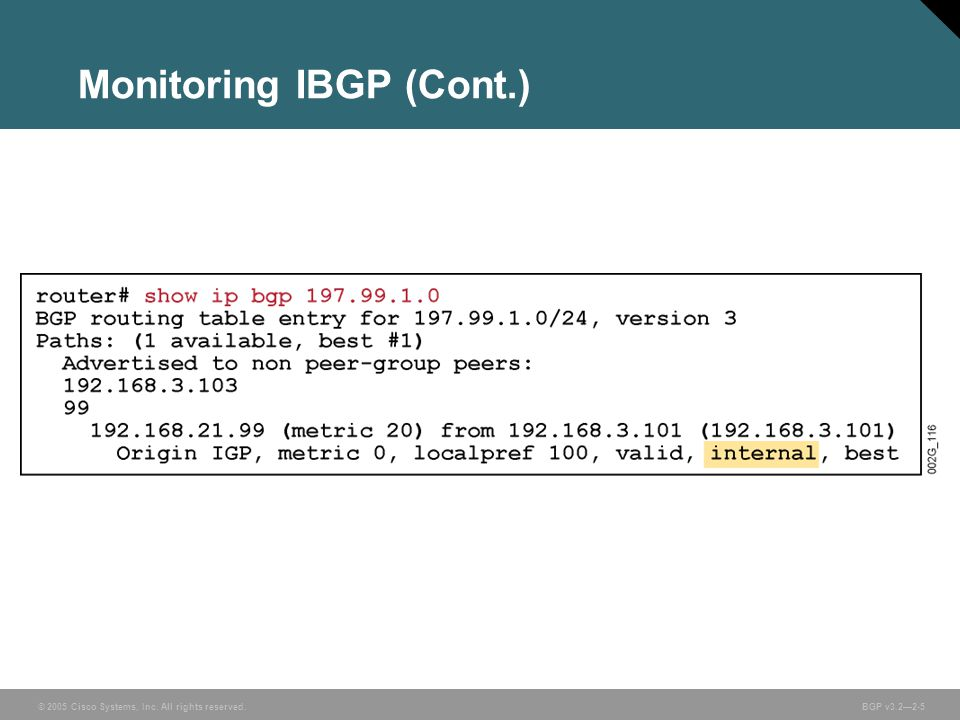 © 2005 Cisco Systems, Inc. All rights reserved. BGP v3.2—2-5 Monitoring IBGP (Cont.)