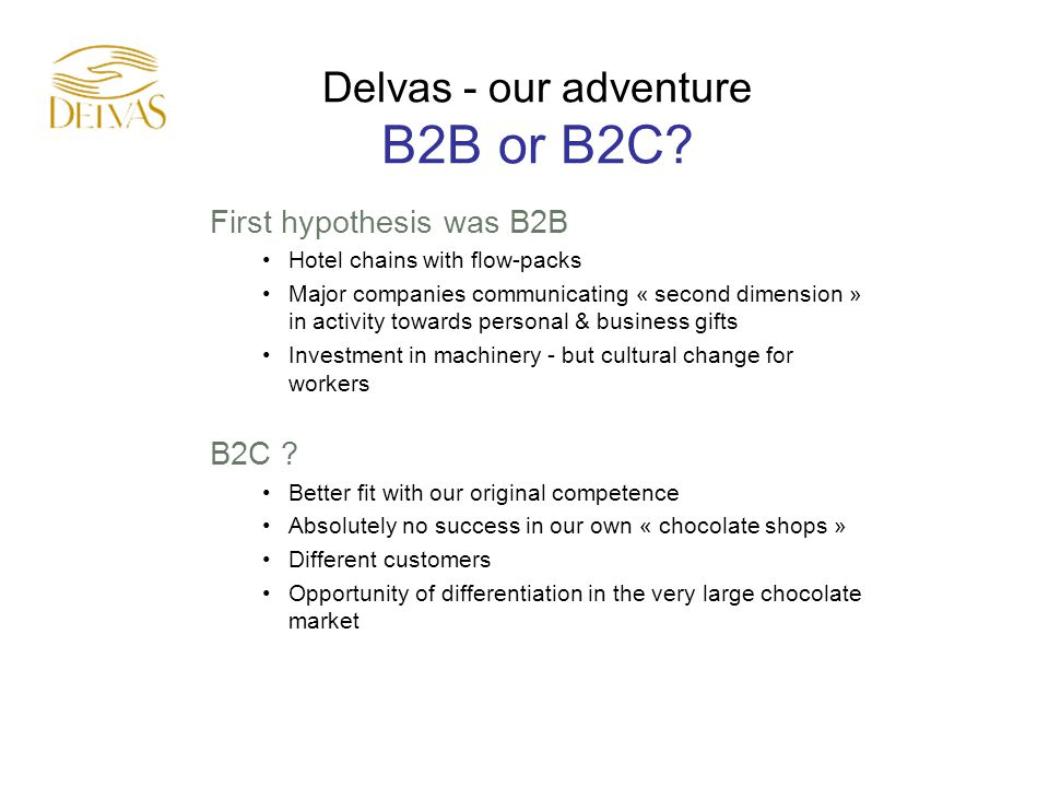 Delvas - our adventure B2B or B2C.