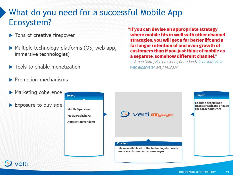 CONFIDENTIAL & PROPRIETARY What do you need for a successful Mobile App Ecosystem.