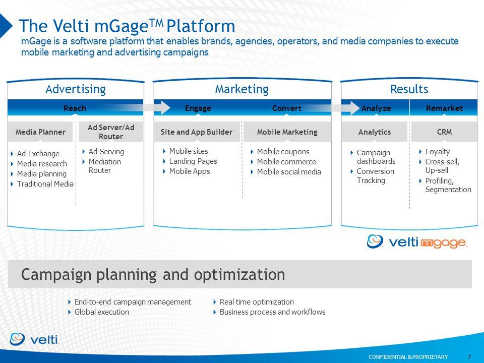 CONFIDENTIAL & PROPRIETARY Reach The Velti mGage TM Platform 7 AdvertisingMarketingResults EngageConvert  Campaign dashboards  Conversion Tracking M