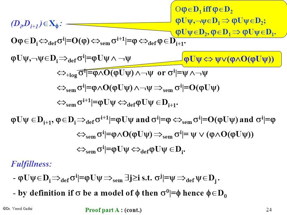  Dr. Vered Gafni 24 (D i,D i+1 )  X  : O  D i  def  i |=O(  )  sem  i+1 |=   def  D i+1.  U ,  D i  def  i |=  U     +log 