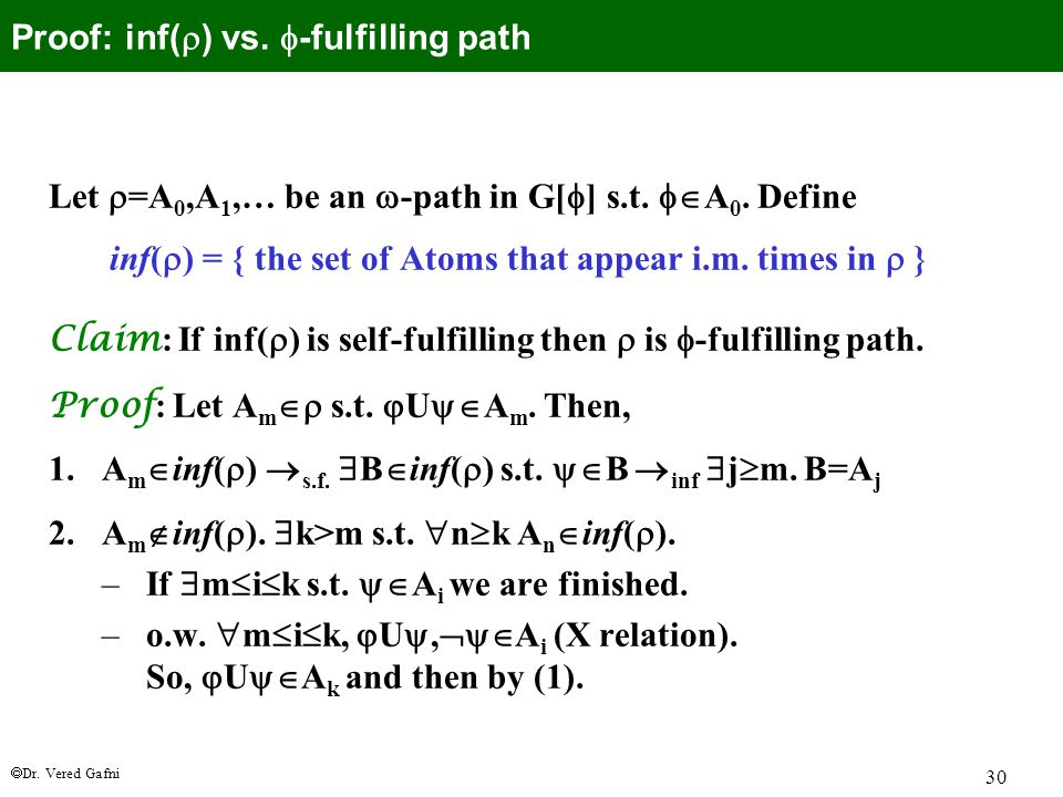  Dr. Vered Gafni 30 Let  =A 0,A 1,… be an  -path in G[  ] s.t.