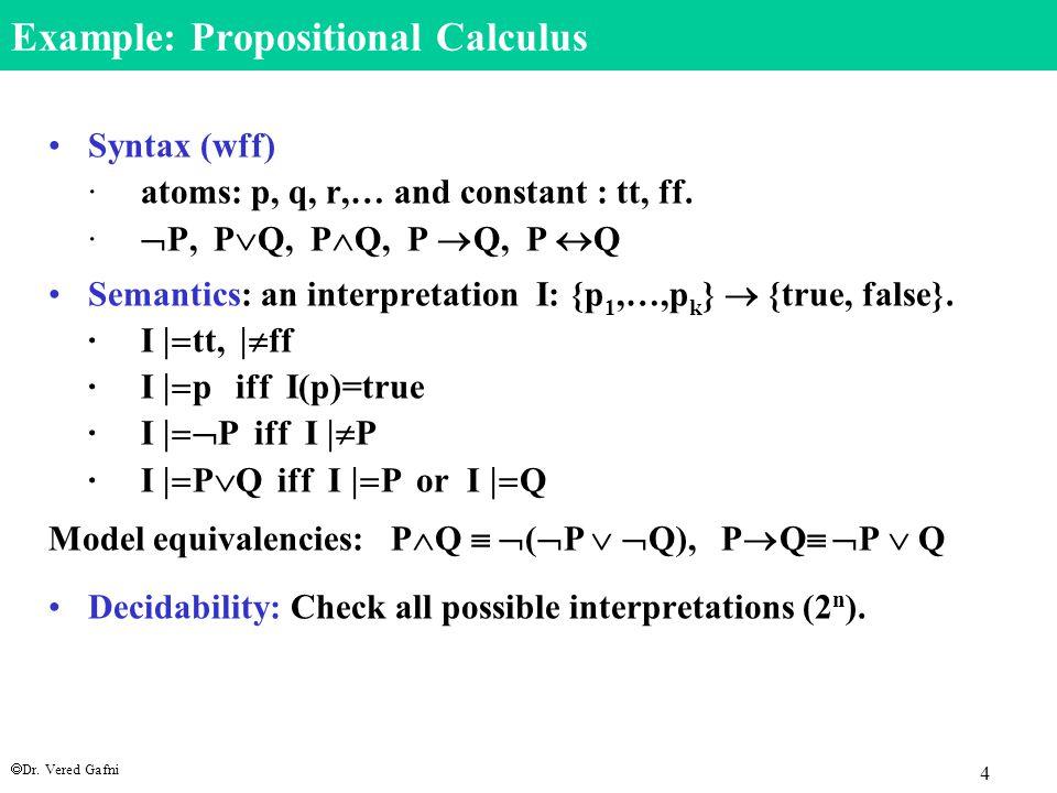  Dr. Vered Gafni 4 Example: Propositional Calculus Syntax (wff) · atoms: p, q, r,… and constant : tt, ff. ·  P, P  Q, P  Q, P  Q, P  Q Semantics
