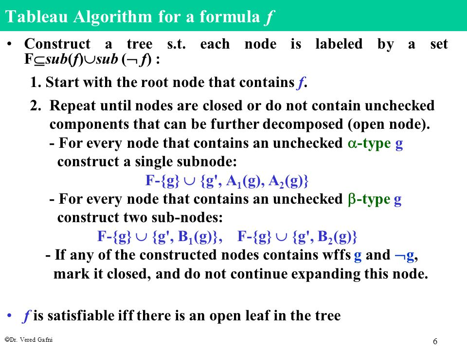  Dr. Vered Gafni 6 Tableau Algorithm for a formula f Construct a tree s.t.