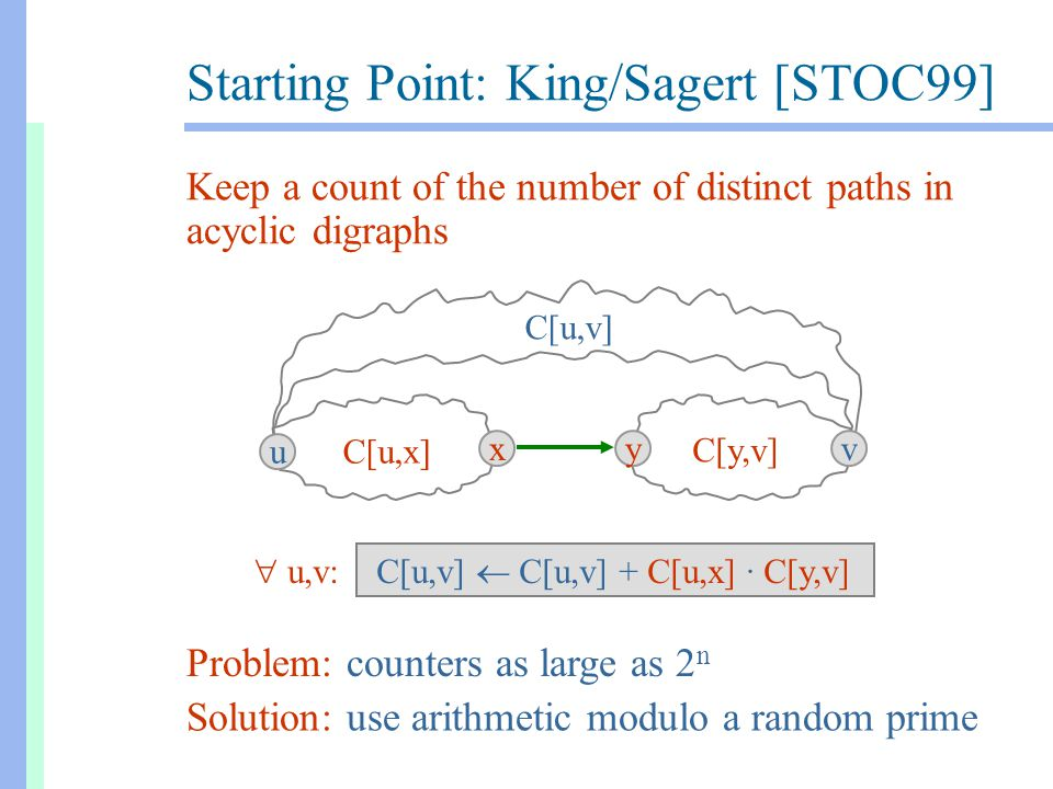 Starting Point: King/Sagert [STOC99] C[u,x] C[y,v] C[u,v]  C[u,v] + C[u,x] · C[y,v] C[u,v] u xyv Keep a count of the number of distinct paths in acyclic digraphs Problem: counters as large as 2 n Solution: use arithmetic modulo a random prime  u,v: