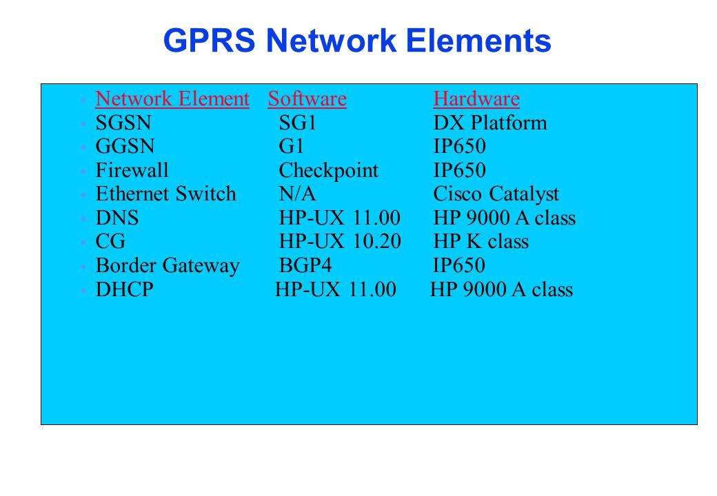 Network ElementSoftwareHardware SGSN SG1DX Platform GGSN G1IP650 Firewall CheckpointIP650 Ethernet Switch N/A Cisco Catalyst DNS HP-UX 11.00HP 9000 A