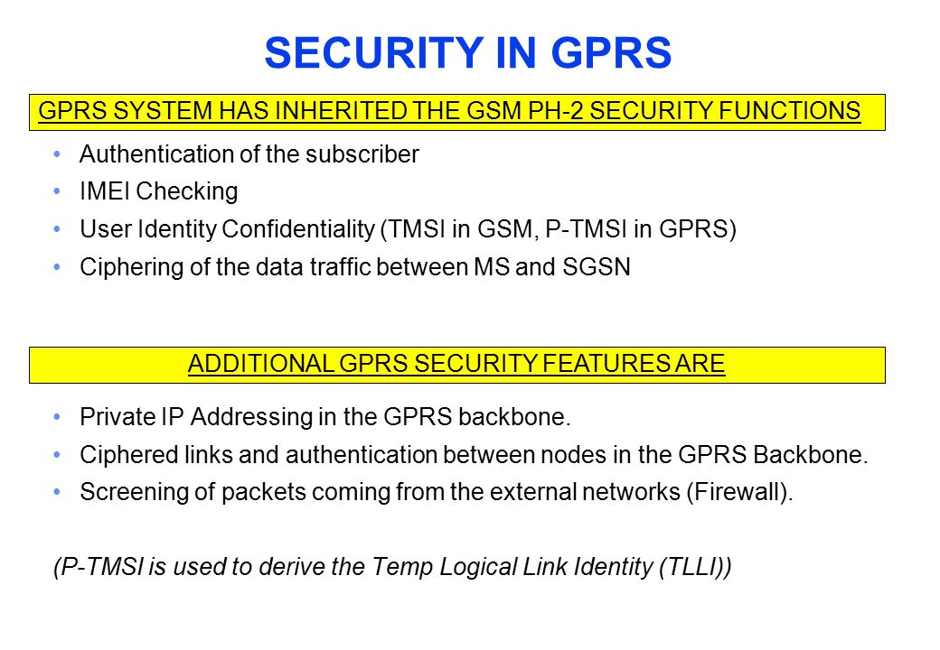 SECURITY IN GPRS Authentication of the subscriber IMEI Checking User Identity Confidentiality (TMSI in GSM, P-TMSI in GPRS) Ciphering of the data traf