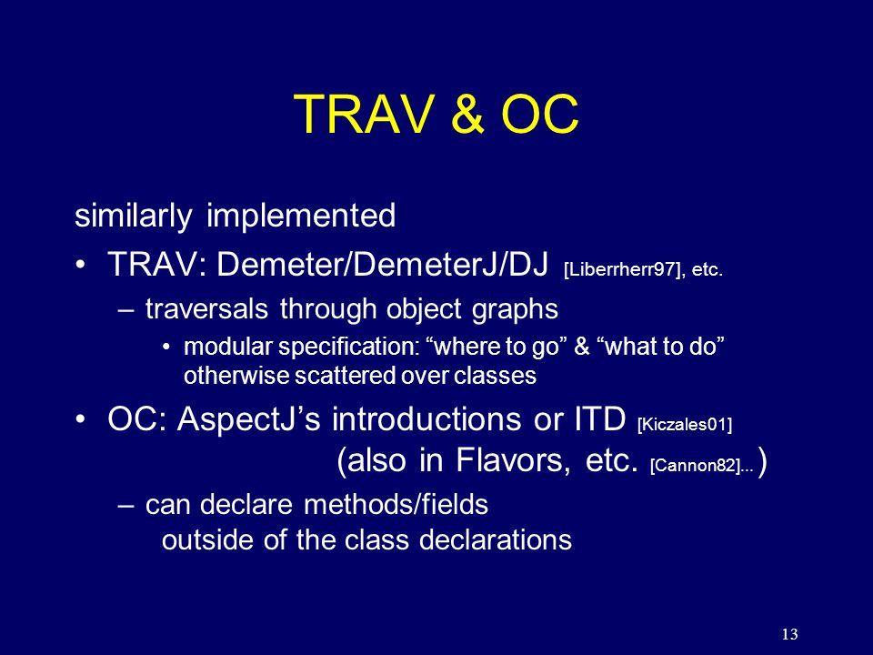 13 TRAV & OC similarly implemented TRAV: Demeter/DemeterJ/DJ [Liberrherr97], etc.