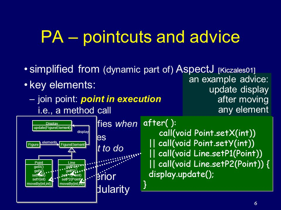 27 implementation of TRAV weaver = traversal engine (define trav:weave (lambda (trav-spec root visitor) (let arrive ((obj root) (path (make-path (object-cname root)))) (call-visitor visitor obj) (for-each (lambda (fname) (let* ((next-obj (get-field fname obj)) (next-cname (object-cname next-obj)) (next-path (extend-path path next-cname))) (if (match.
