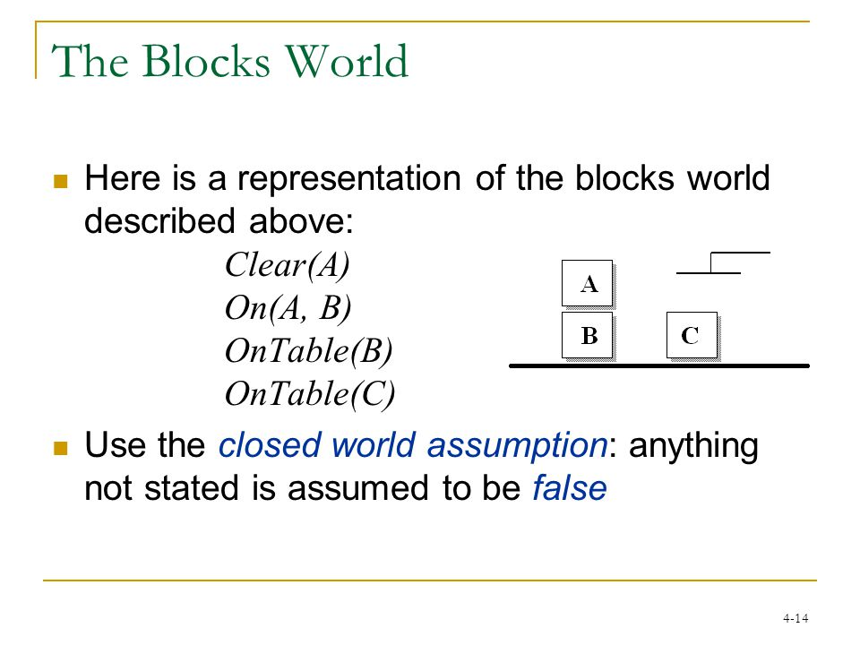 4-14 The Blocks World Here is a representation of the blocks world described above: Clear(A) On(A, B) OnTable(B) OnTable(C) Use the closed world assumption: anything not stated is assumed to be false