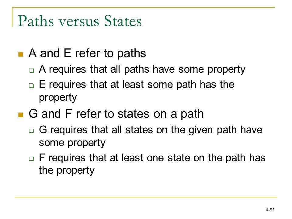4-53 Paths versus States A and E refer to paths  A requires that all paths have some property  E requires that at least some path has the property G and F refer to states on a path  G requires that all states on the given path have some property  F requires that at least one state on the path has the property