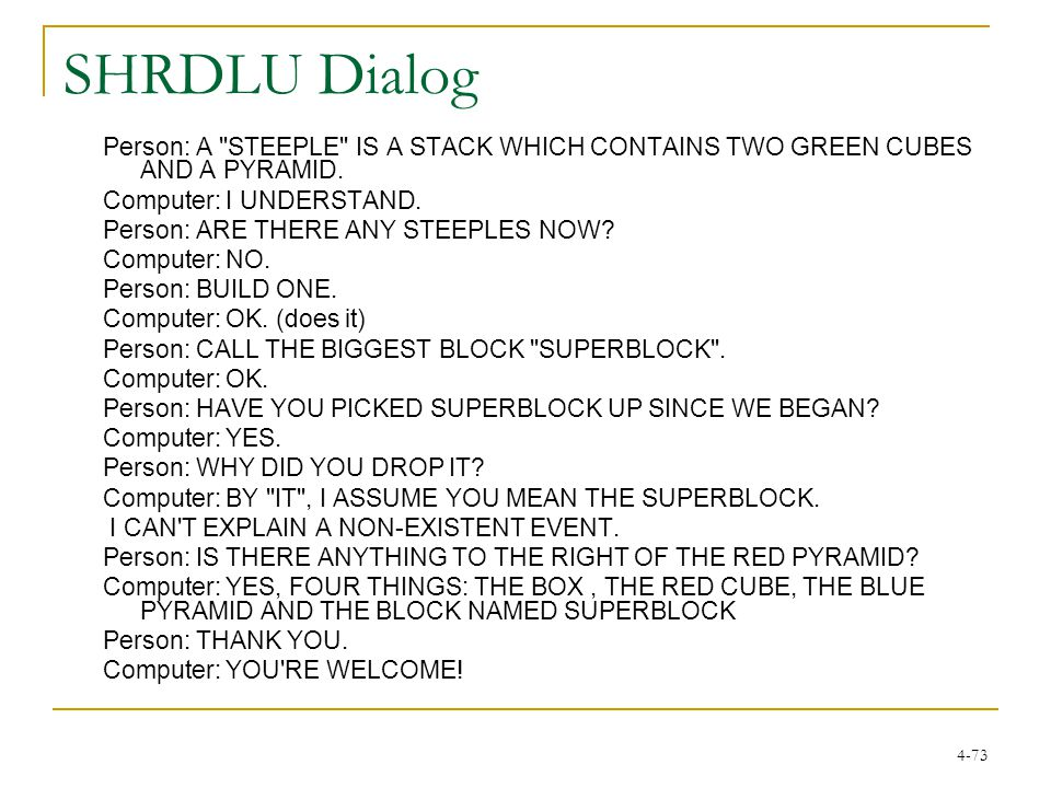 4-73 SHRDLU Dialog Person: A STEEPLE IS A STACK WHICH CONTAINS TWO GREEN CUBES AND A PYRAMID.