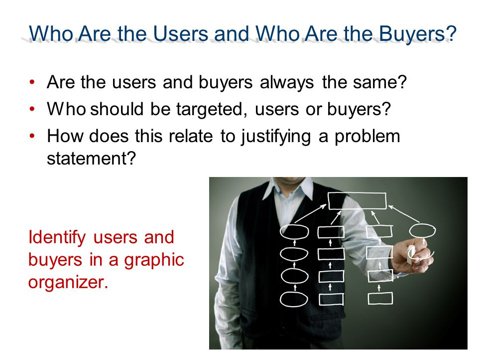 Who Are the Users and Who Are the Buyers? Are the users and buyers always the same? Who should be targeted, users or buyers? How does this relate to j