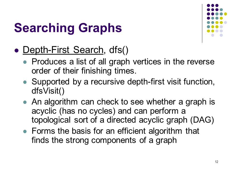 12 Searching Graphs Depth-First Search, dfs() Produces a list of all graph vertices in the reverse order of their finishing times. Supported by a recu