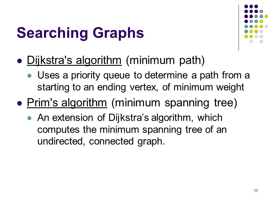 13 Searching Graphs Dijkstra s algorithm (minimum path) Uses a priority queue to determine a path from a starting to an ending vertex, of minimum weight Prim s algorithm (minimum spanning tree) An extension of Dijkstra's algorithm, which computes the minimum spanning tree of an undirected, connected graph.