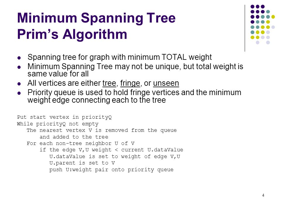 4 Minimum Spanning Tree Prim's Algorithm Spanning tree for graph with minimum TOTAL weight Minimum Spanning Tree may not be unique, but total weight is same value for all All vertices are either tree, fringe, or unseen Priority queue is used to hold fringe vertices and the minimum weight edge connecting each to the tree Put start vertex in priorityQ While priorityQ not empty The nearest vertex V is removed from the queue and added to the tree For each non-tree neighbor U of V if the edge V,U weight < current U.dataValue U.dataValue is set to weight of edge V,U U.parent is set to V push U:weight pair onto priority queue