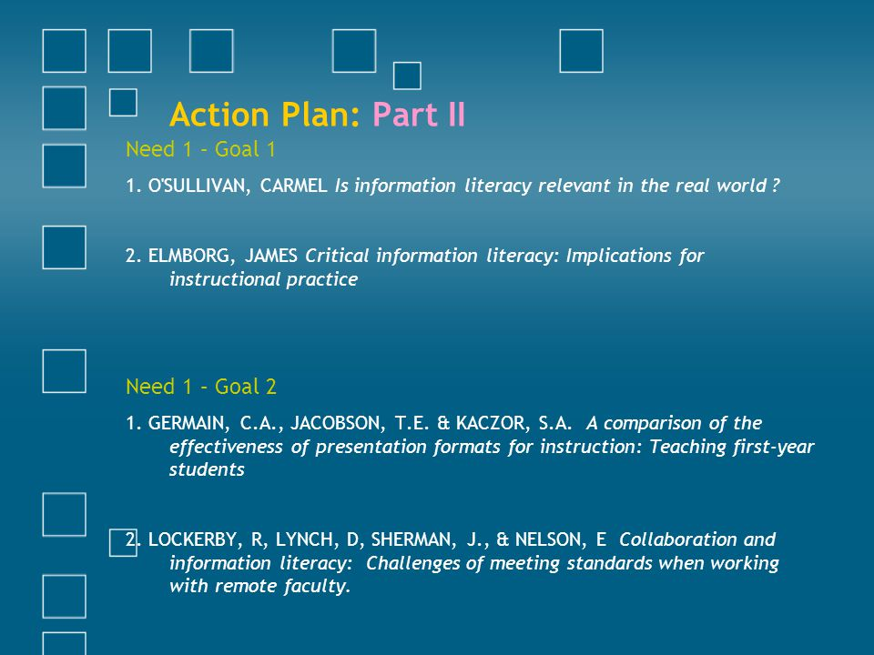 Action Plan: Part II Need 1 – Goal 1 1. O'SULLIVAN, CARMEL Is information literacy relevant in the real world ? 2. ELMBORG, JAMES Critical information