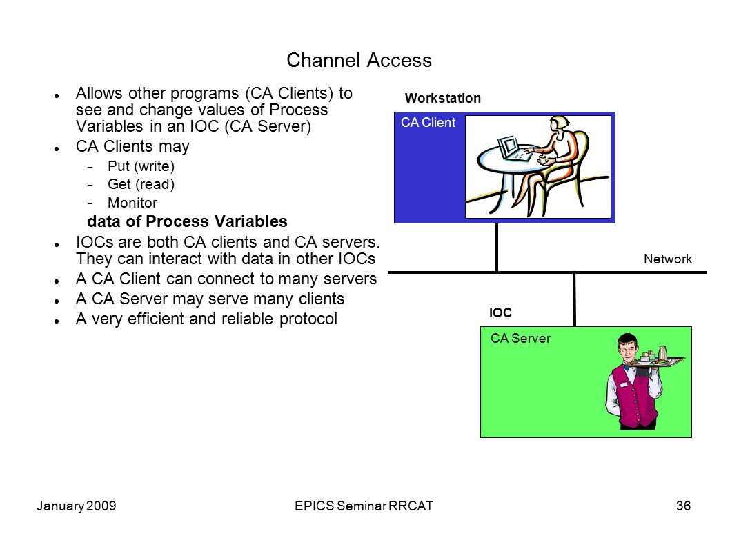 January 2009EPICS Seminar RRCAT36 Channel Access Allows other programs (CA Clients) to see and change values of Process Variables in an IOC (CA Server