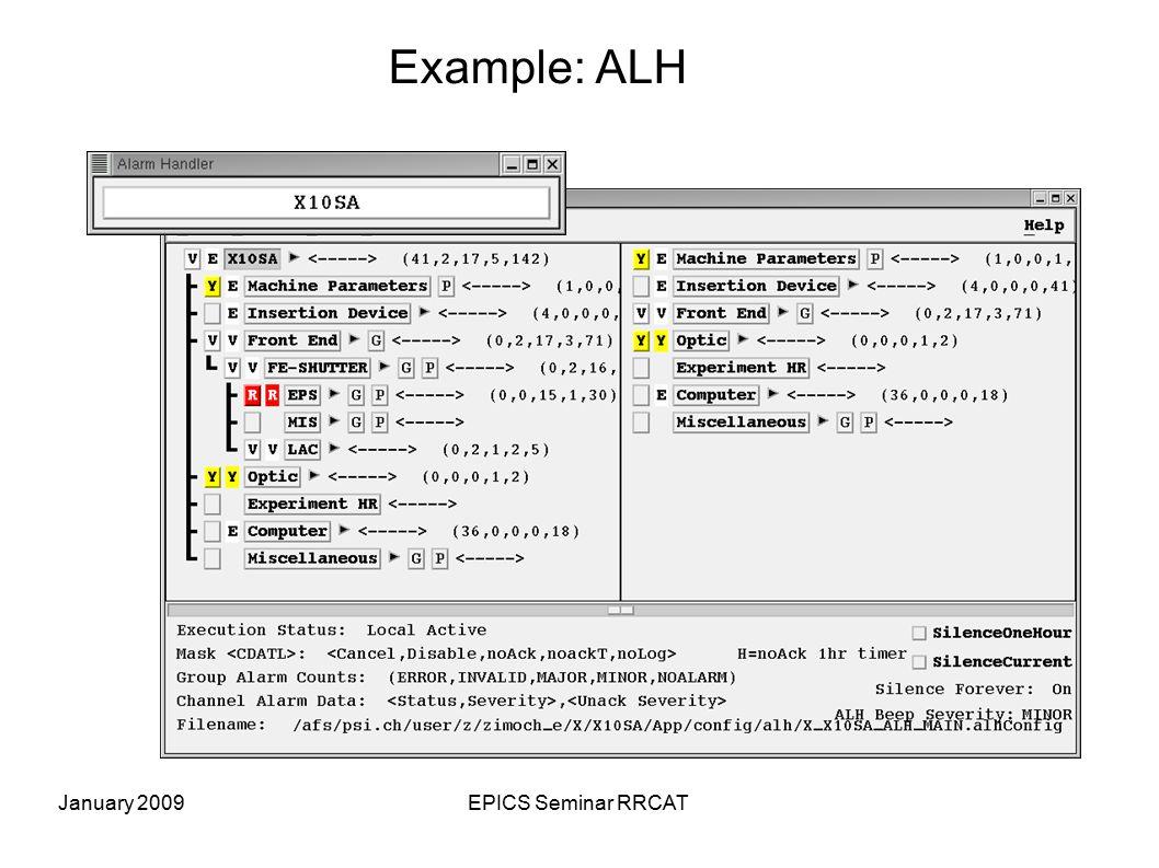 January 2009EPICS Seminar RRCAT Example: ALH