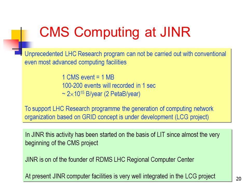 20 CMS Computing at JINR Unprecedented LHC Research program can not be carried out with conventional even most advanced computing facilities 1 CMS event = 1 MB 100-200 events will recorded in 1 sec ~ 2  10 15 B/year (2 PetaB/year) To support LHC Research programme the generation of computing network organization based on GRID concept is under development (LCG project) Unprecedented LHC Research program can not be carried out with conventional even most advanced computing facilities 1 CMS event = 1 MB 100-200 events will recorded in 1 sec ~ 2  10 15 B/year (2 PetaB/year) To support LHC Research programme the generation of computing network organization based on GRID concept is under development (LCG project) In JINR this activity has been started on the basis of LIT since almost the very beginning of the CMS project JINR is on of the founder of RDMS LHC Regional Computer Center At present JINR computer facilities is very well integrated in the LCG project In JINR this activity has been started on the basis of LIT since almost the very beginning of the CMS project JINR is on of the founder of RDMS LHC Regional Computer Center At present JINR computer facilities is very well integrated in the LCG project