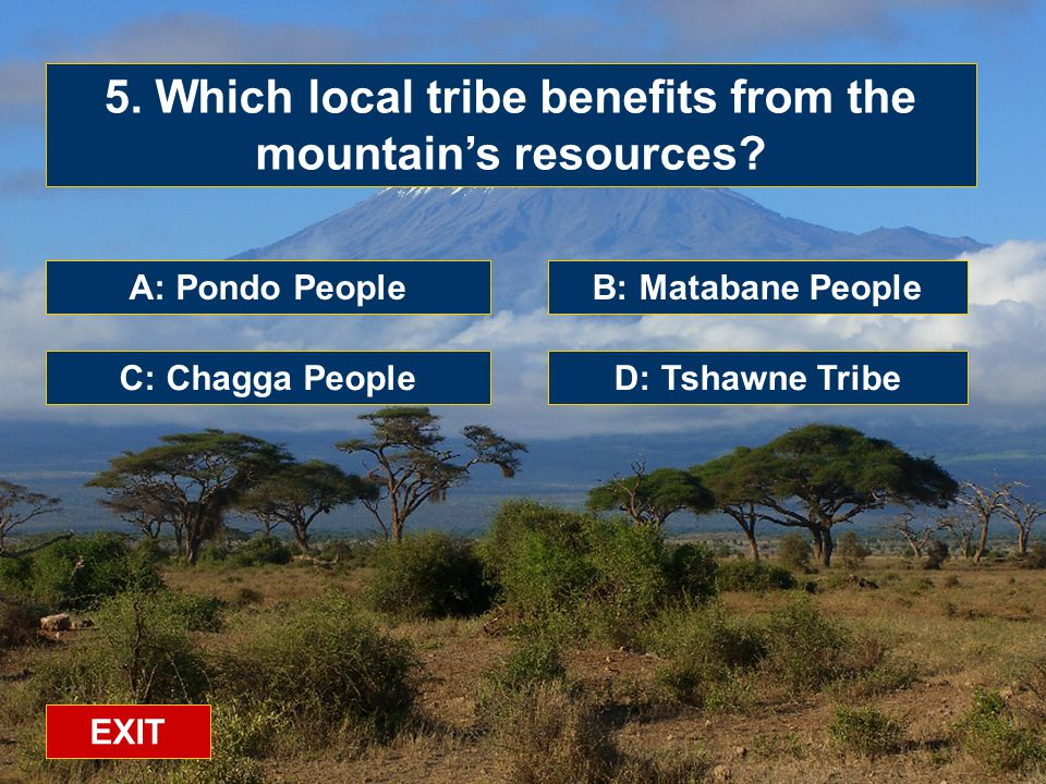 A: Pondo People C: Chagga PeopleD: Tshawne Tribe B: Matabane People 5.