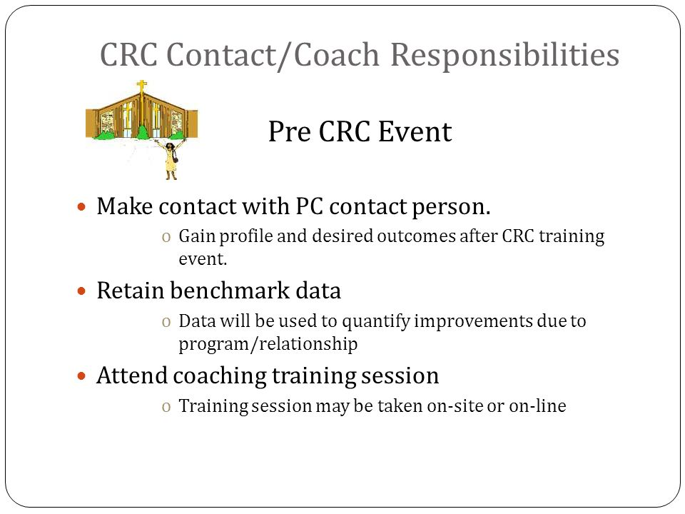 CRC Contact/Coach Responsibilities Pre CRC Event Make contact with PC contact person.