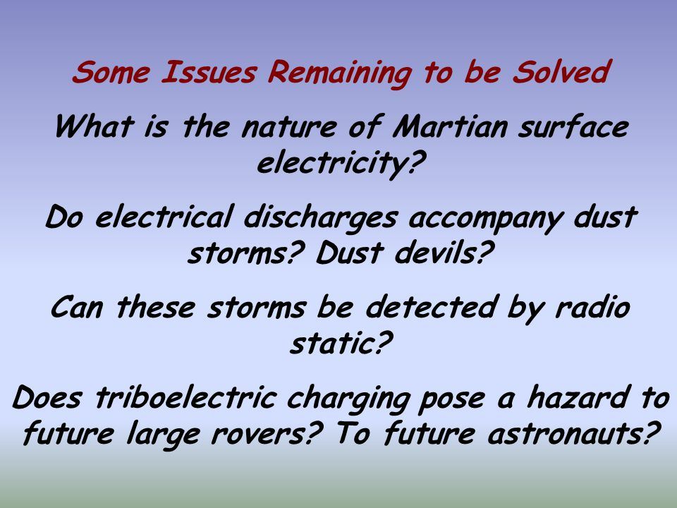 Some Issues Remaining to be Solved What is the nature of Martian surface electricity.