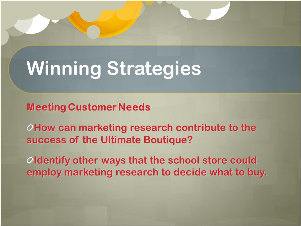 Describe how to reach your target market Explain how to analyze your competition Lesson 1.1 Target Market