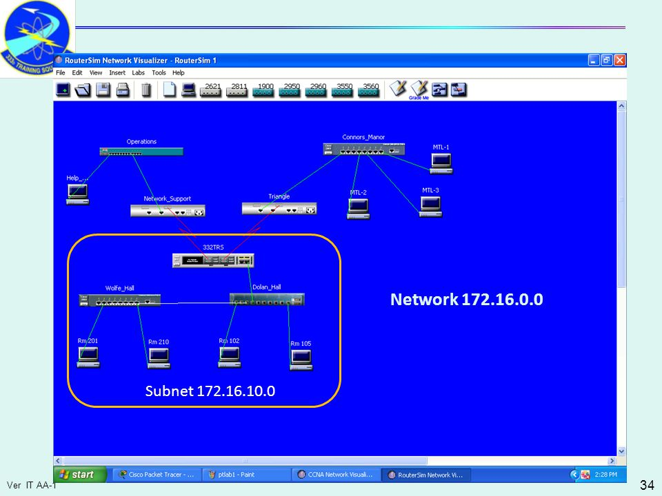 Ver IT AA-1 34 Subnet 172.16.10.0 Network 172.16.0.0