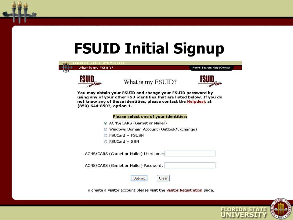 FSUID Initial Signup